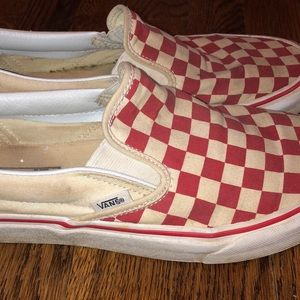 VANS off the Wall red checker slip ons